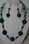 "+MBAHB #003-312  ""One Of A Kind Black Crystal & Turquoise Necklace & Earring Set"""