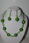 "+MBAHB #003-307  ""One Of A Kind Green Bead Necklace & Earring Set"""