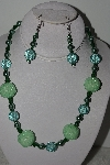"+MBAHB #003-318  ""One Of A Kind Fancy Green Bead Necklace & Earruing Set"""