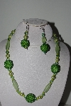 "+MBAHB #003-295  ""One Of A Kind Green Bead Necklace & Earring Set"""