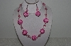 "+MBAHB #003-269  ""One Of A Kind Pink Bead Necklace & Earring Set"""