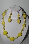 "+MBAHB #003-290  ""One Of A Kind Yellow Bead Necklace & Earring Set"""