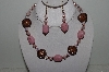 "+MBAHB #003-265  ""One Of A Kind Pink & Brown Bead Necklace & Earring Set"""
