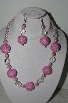 "+MBAHB #003-285  ""One Of A Kind Pink Bead Necklace & Earring Set"""