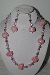 +MBAHB #003-237  One Of A Kind Pink Bead Necklace & Earring Set""