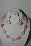 "+MBAHB #003-227  ""One Of A Kind Pink Bead & Gemstone Necklace & Earring Set"""