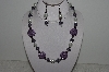 "+MBAHB #003-217  ""One Of A Kind Purple & White Bead Necklace & Earring Set"""