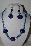 "+MBAHB #003-223  ""One Of A Kind Blue Bead & Turquoise Necklace & Earring Set"""