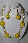"+MBAHB #003-280  ""One Of A Kind Yellow Bead Necklace & Earring Set"""