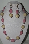 "+MBAHB #003-207  ""One Of A Kind Pink Bead & Gemstone Necklace & Earring Set"""