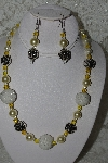 "+MBAHB #003-121 ""One Of A Kind Yellow Bead Necklace & Earring Set"""