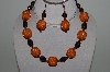 "+MBAHB #003-196  ""One Of A Kind Orange & Brown Bead Necklace & Earring Set"""