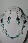 "+MBAHB #003-202  ""One Of A Kind Blue & White Bead Necklace & Earring Set"""