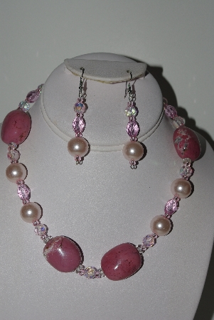 "MBAHB #009-207  ""One Of A Kind Pink Gemstone & Bead Necklace & Earring Set"""