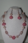 "+MBAHB #009-198  ""One Of A Kind Pink Bead Necklace & Earring Set"""