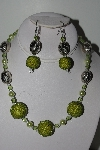 "+MBAHB #009-185  ""One Of A Kind Green Bead Necklace & Earring Set"""