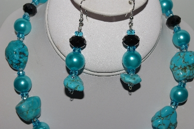 "MBAHB #009-180  ""One Of A Kind Blue Bead Necklace & Earring Set"""