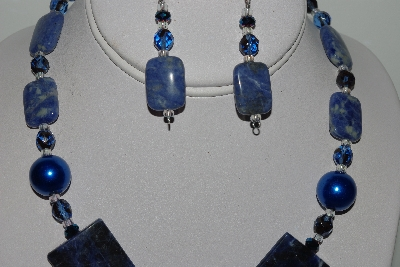 MBAHB #009-175  One Of A Kind Blue Gemstone & Bead Necklace & Earring Set""