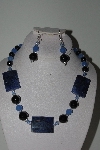 "MBAHB #009-165  ""One Of A Kind Black & Blue Bead Necklace & Earring Set"""