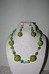 "+MBAHB #009-149  ""One Of A Kind Green Bead & Crystal Necklace & Earring Set"""
