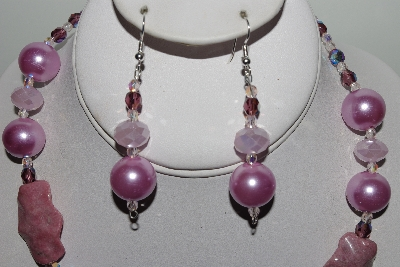 "MBAHB #009-143  ""One Of A Kind Purple & Pink Bead Necklace & Earring Set"""