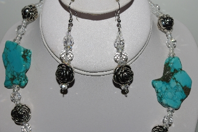 "MBAHB #009-137  ""One Of A Kind Blue Gemstone Bead Necklace & Earring Set"""
