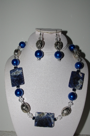 "MBAHB #009-132  ""One Of A Kind Blue Bead Necklace & Earring Set"""