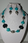 "+MBAHB #009-120  ""One Of A Kind Blue Bead Necklace & Earring Set"""