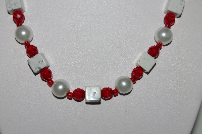 "MBAHB #009-110  ""One Of A Kind White & Red Bead Necklace & Earring Set"""