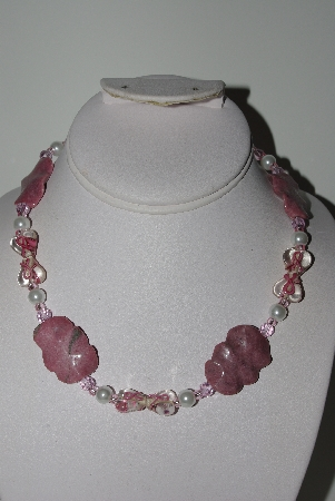 "MBAHB #009-105  ""One Of A Kind Pink Bead Necklace & Earring Set"""