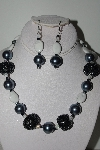 "+MBAHB #009-090  ""One Of A Kind Grey & White Bead Necklace & Earring Set"""