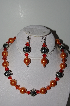 "MBAHB #009-075  ""One Of A Kind Orange Bead Necklace & Earring Set"""