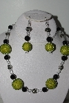 "+MBAHB #009-070  ""One Of A Kind Green & Black Bead Necklace & Earring Set"""