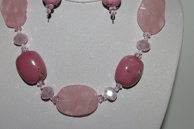 "MBAHB #009-055  ""One Of A Kind Pink Bead Necklace & Earring Set"""