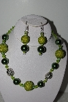 "+MBAHB #009-029  ""One Of A Kind Green Bead Necklace & Earring Set"""