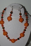 "+MBAHB #009-024  ""One Of A Kind Orange  Bead Tiger Eye Necklace & Earring Set"""