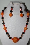 "+MBAHB #009-008  ""One Of A Kind Orange & Black Bead Necklace & earring Set"""