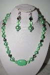 MBAHB #013-205  One Of A Kind Green Shell Pearl & Bead Necklace & Earring Set""