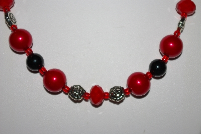 "MBAHB #013-195  ""One Of A Kind Red & Black Bead Necklace & Earring Set"""