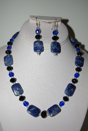 "MBAHB #013-190  ""One Of A Kind Lapis Gemstone & Bead Necklace & Earring Set"""