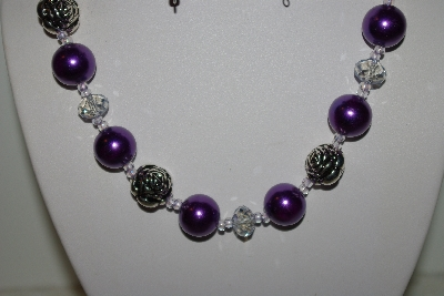 "MBAHB #013-185  ""One Of a Kind Purple Bead Necklace & Earring Set"""