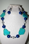 "MBAHB #013-098  ""One Of A Kind Blue Bead Necklace & Earring Set"""