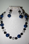 "MBAHB #013-093  ""One Of A Kind Blue & Black Bead Necklace & Earring Set"""