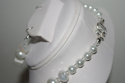 "MBAHB #013-175  ""One Of a Kind White Gemstone & Crystal Bead Necklace & Earring Set"""