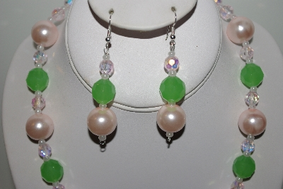 "MBAHB #013-170  ""One Of A Kind Pink & Green Bead Necklace & Earring Set"""