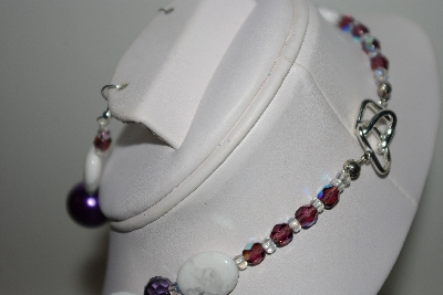 "MBAHB #013-165  ""One Of A Kind Purple & White Bead Necklace & Earring Set"""