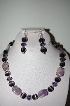 "MBAHB #013-083  ""One Of A Kind Purple Bead Necklace & Earring Set"""