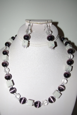 "MBAHB #013-078  ""One Of A Kind Purple & White Bead Necklace & Earring Set"""