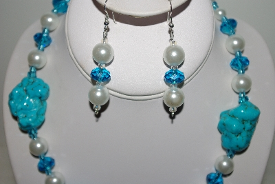 "MBAHB #013-072  ""One Of A Kind Blue & White Bead Necklace & Earring Set"""