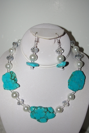 "MBAHB #013 ""One Of A Kind  Blue & White Bead Necklace & Earring Set"""